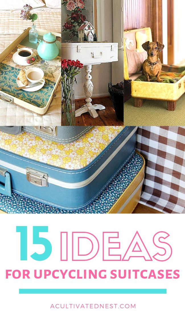 15 Cool Ways To Decorate With Vintage Luggage- If you want to repurpose some old luggage, you have to check out thee 15 clever ways to upcycle suitcases! | DIY decor, DIY dog bed, decorating with suitcases, #DIY #upcycle #repurpose #reuse #ACultivatedNest