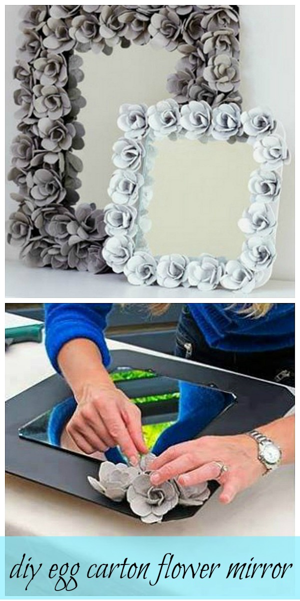 DIY egg carton flower mirror (DIY Saturday featured project @ A Cultivated Nest)