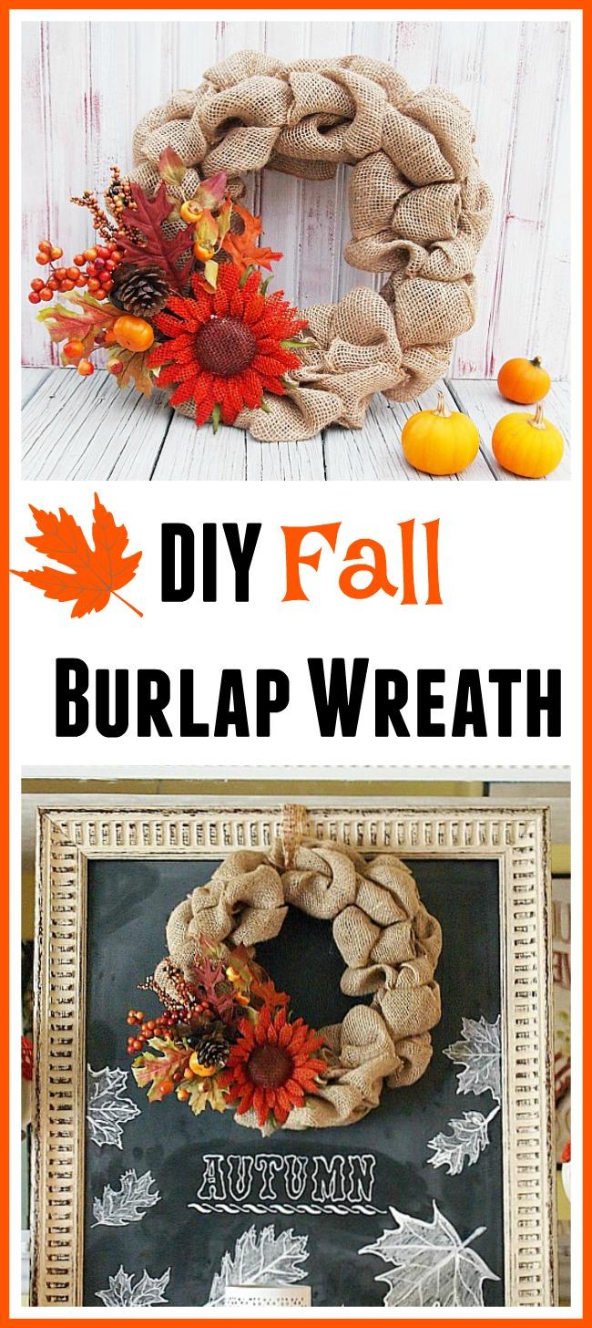 DIY fall burlap wreath, fall decorating ideas, DIY wreath, DIY home decor, fall home decor, easy fall crafts, burlap crafts