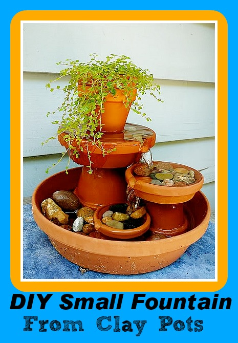 DIY Small Fountain made from clay pots |DIY Saturday Featured Project