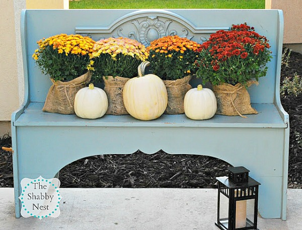 Autumn Decor with Mums- If you want an easy way to decorate your home for fall, you should get some mums! Check out these creative ideas for decorating with mums! | floral decoration, floral decor, easy ways to decorate your home for fall #decor #fall #autumn #flowers #mums #chrysanthemums #decorating #ACultivated Nest