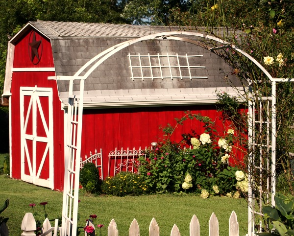 barn from the garden
