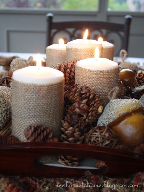 DIY Fall Decorating ideas like these candles wrapped in burlap
