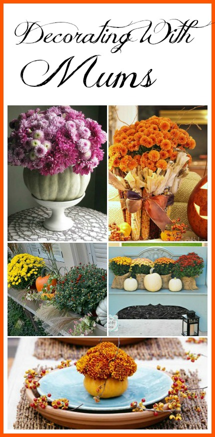 "Decorating With Mums - Don't mums just say ""Fall!"" Here are few pretty ideas for how to use mums in your fall decor! 