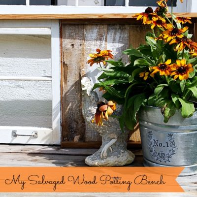salvaged wood potting bench