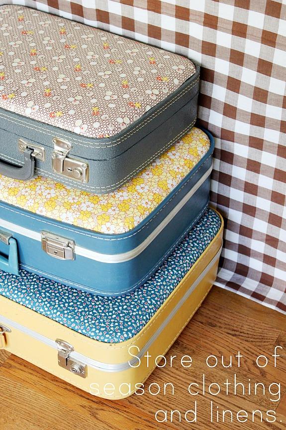 15 Ways To Repurpose A Suitcase - fabric covered suitcases