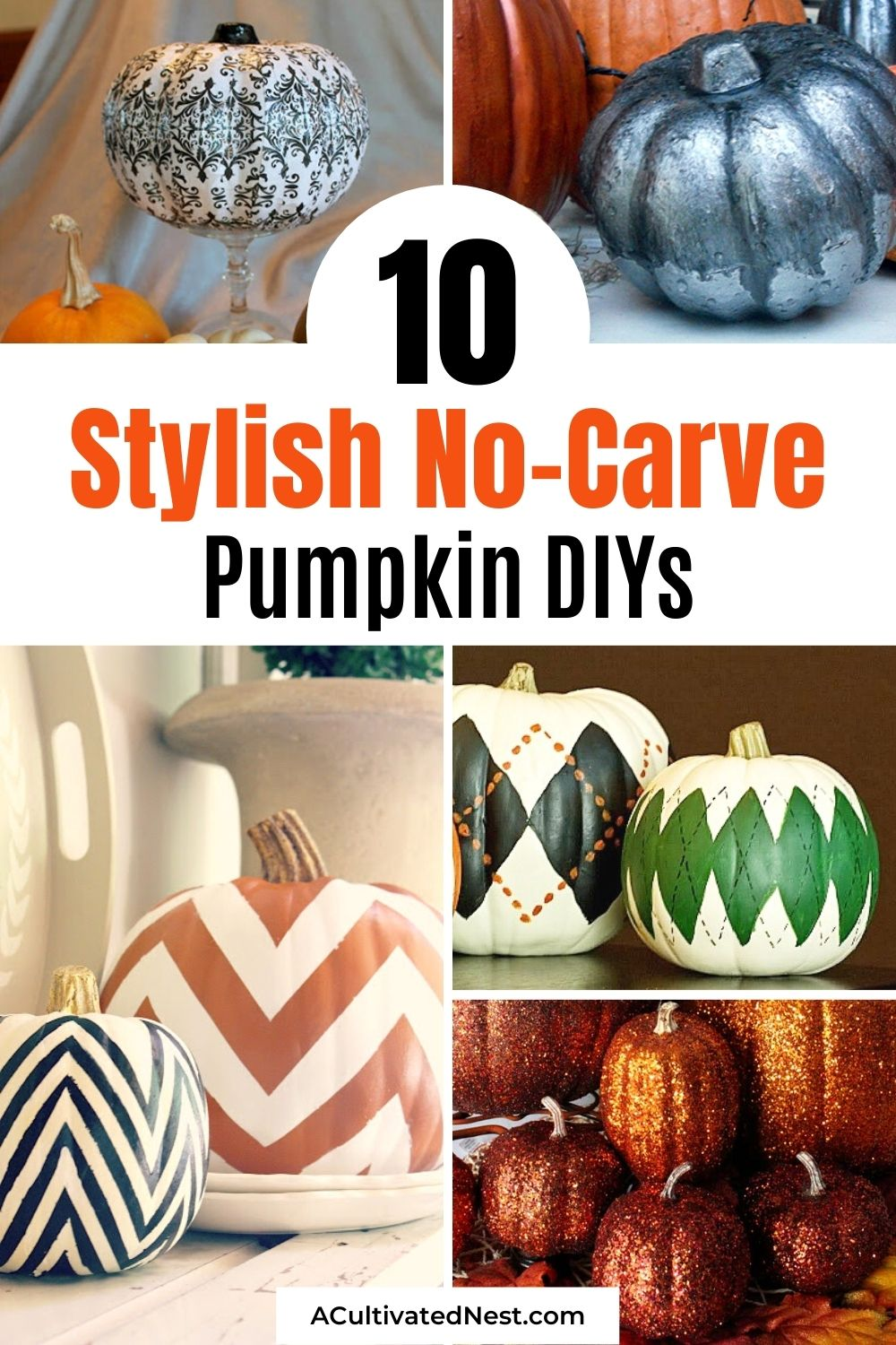 10 Stylish No Carve Pumpkin Decorating Ideas- A budget-friendly and mess-free way to decorate your home for fall, is with these 10 stylish no carve pumpkin decorating ideas! They're so fun to make, and look beautiful!   #pumpkinCraft #fallPumpkins #craft #diyProjects #ACultivatedNest