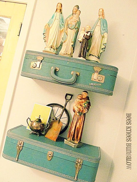 15 Ways To Repurpose A Suitcase - suitcase shelves