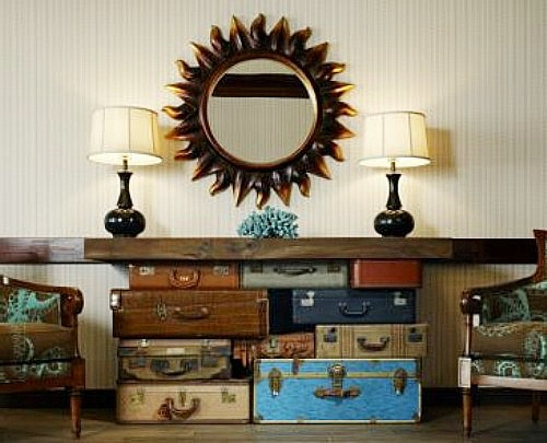 15 Ways To Repurpose A Suitcase - suitcase console table