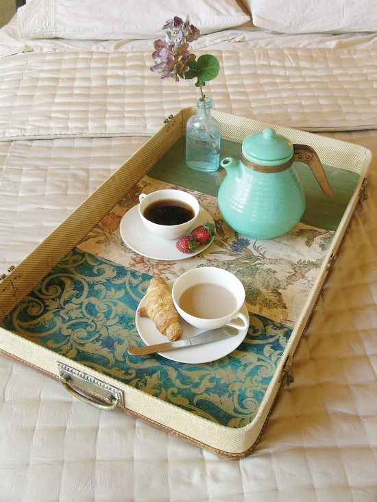 15 ways to repurpose a suitcase - make a tray from a suitcase