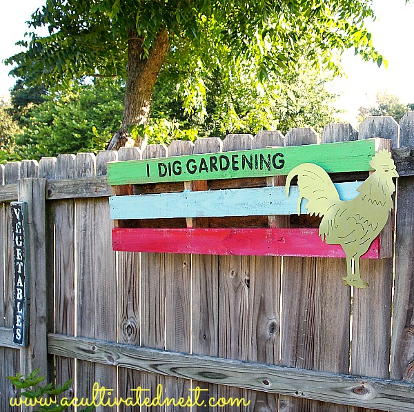 pallet upcycled into garden art