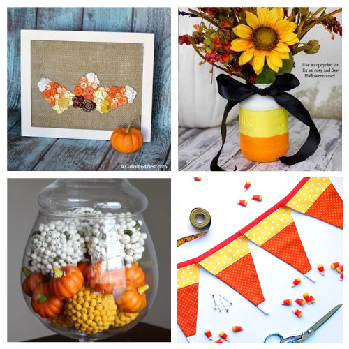16 Candy Corn Inspired Halloween Decorating Projects- Aren't the colors of candy corn festive? Here are 16 candy corn inspired fall decorating projects to get your home ready for Halloween! | #Halloween #candyCorn #fallDecor #diyProjects #ACultivatedNest