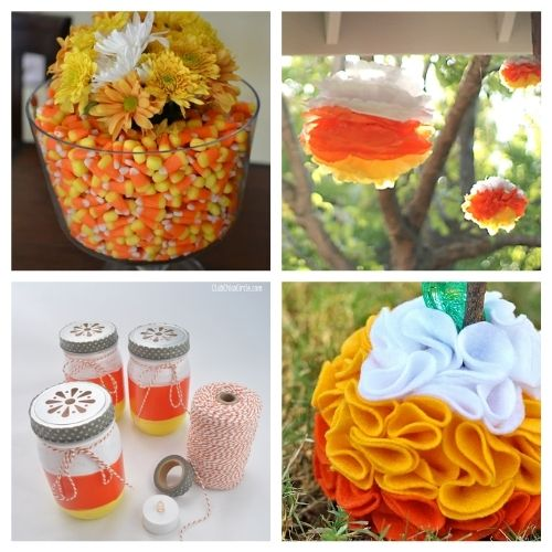 16 Candy Corn Inspired Fall Crafts- Aren't the colors of candy corn festive? Here are 16 candy corn inspired fall decorating projects to get your home ready for Halloween! | #Halloween #candyCorn #fallDecor #diyProjects #ACultivatedNest