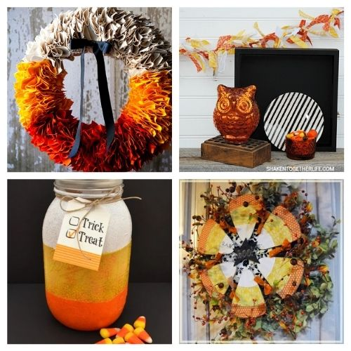 16 Candy Corn Inspired Halloween Crafts- Aren't the colors of candy corn festive? Here are 16 candy corn inspired fall decorating projects to get your home ready for Halloween! | #Halloween #candyCorn #fallDecor #diyProjects #ACultivatedNest