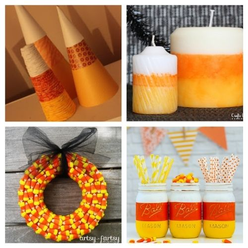16 Candy Corn Inspired Halloween DIY Projects- Aren't the colors of candy corn festive? Here are 16 candy corn inspired fall decorating projects to get your home ready for Halloween! | #Halloween #candyCorn #fallDecor #diyProjects #ACultivatedNest