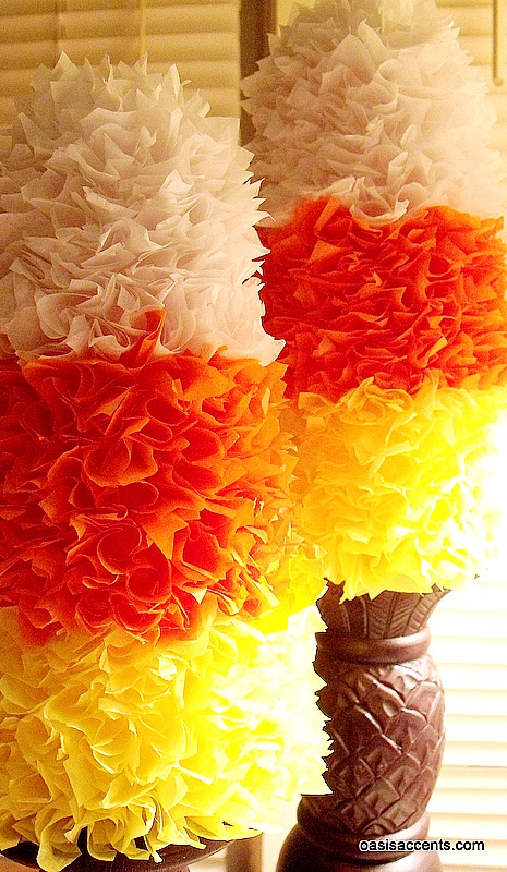 12 Candy Corn Inspired Fall Decorating Projects Candy-Corn-tissue-topiaries