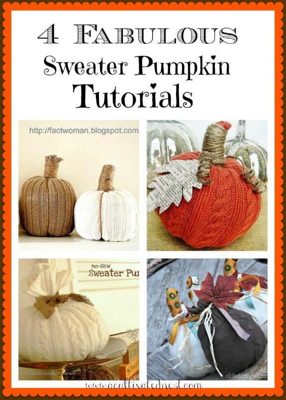 Here's a roundup of 4 fabulous DIY sweater pumpkin tutorials