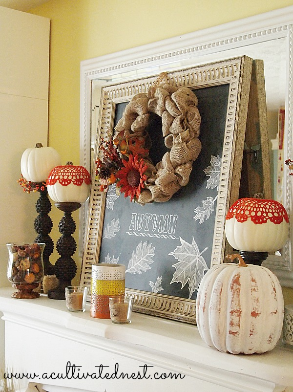 Fall Mantel Decor - 2013 Fall Mantel