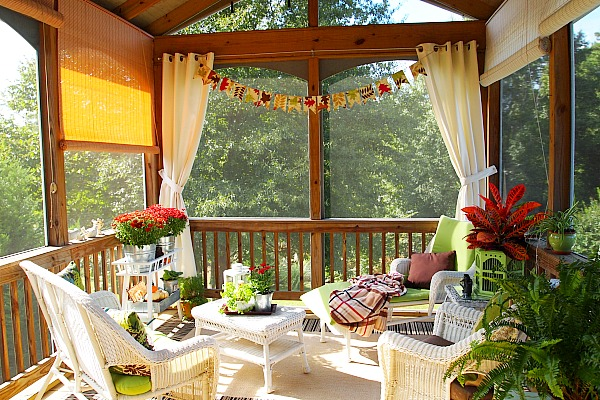 A Cultivated Nest Fall Screened Porch