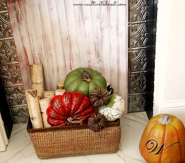 Fall Mantel Decor - 2013 Fall Mantel - basket filled with birch wood and pumpkins