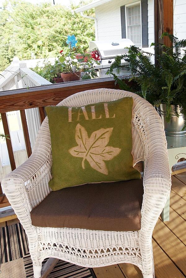 burlap fall pillow