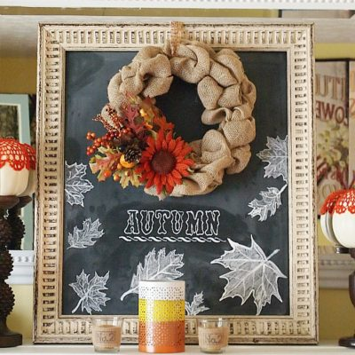 DIY burlap wreath on a hand lettered fall chalkboard