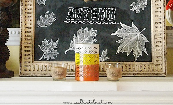 Fall Mantel Decor - 2013 Fall Mantel - fall chalkboard & candy corn candle holder