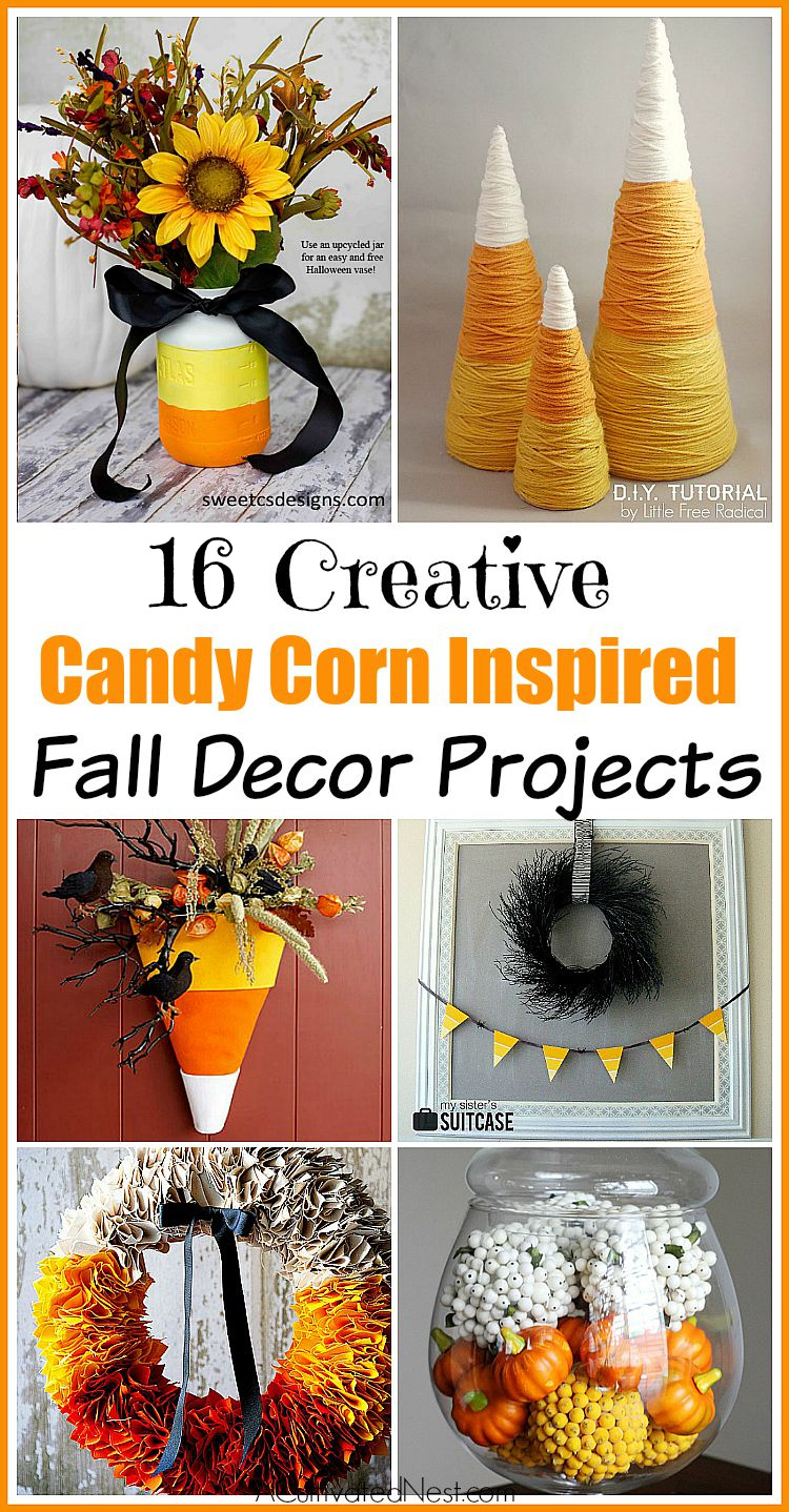 16 Candy Corn Inspired Fall Decorating Projects- The colors of candy corn just say fall don't they! Here are 6 candy corn inspired fall decorating projects to inspire you! | #HalloweenDecor #fallDecorating #craft #DIYs #ACultivatedNest