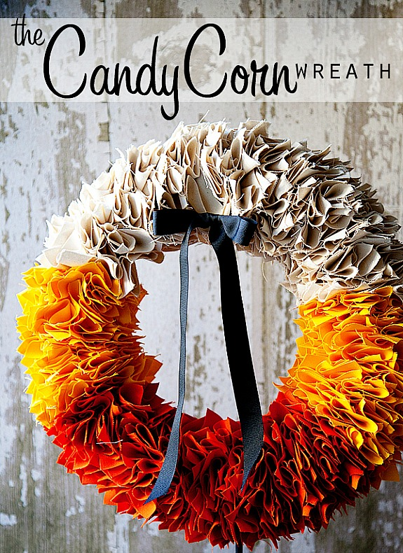 12 Candy Corn Inspired Fall Decorating Projects like this candy corn colored wreath