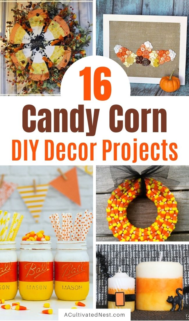 16 Candy Corn Inspired Fall Decorating Projects- Aren't the colors of candy corn festive? Here are 16 candy corn inspired fall decorating projects to get your home ready for Halloween! | #Halloween #candyCorn #fallDecor #diyProjects #ACultivatedNest