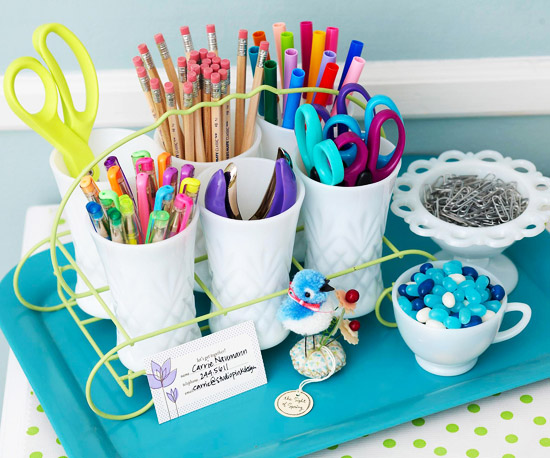cups as storage for pencils