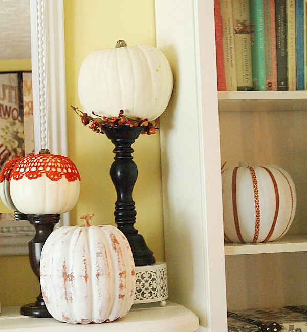distressed pumpkin, washi tape pumpkin & decoupaged pumpkin