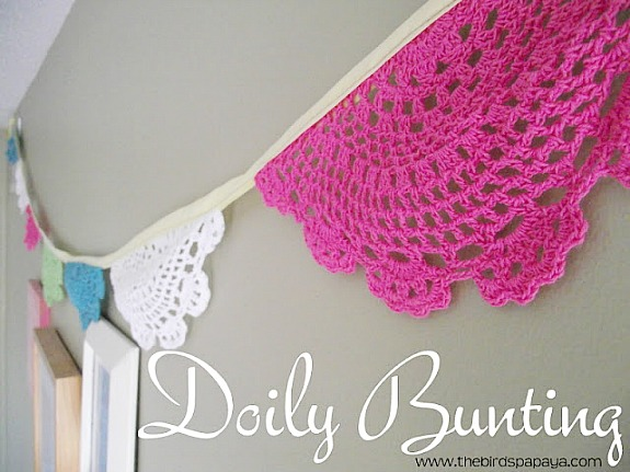 colorful doily bunting