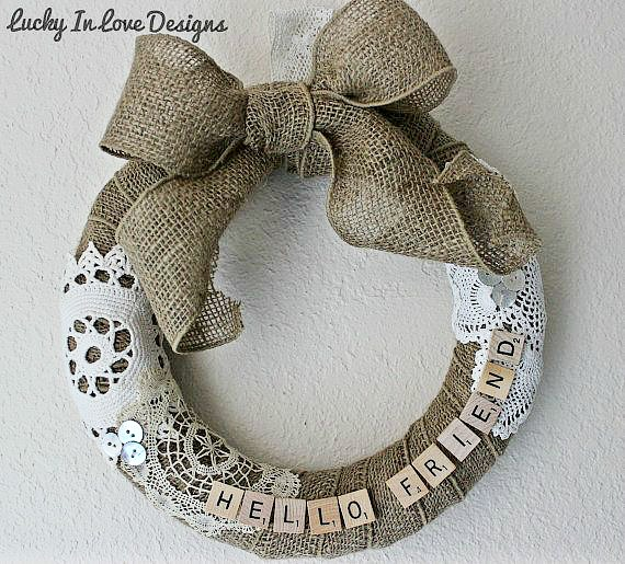 doily and burlap wreath
