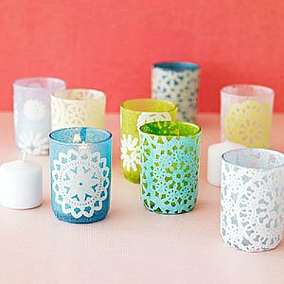 lacey doily candle holders