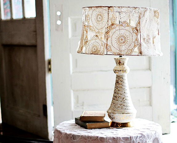doily lampshade by a Beautiful Mess