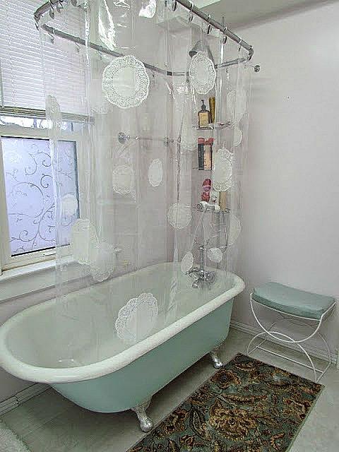 mod podged doily shower curtain