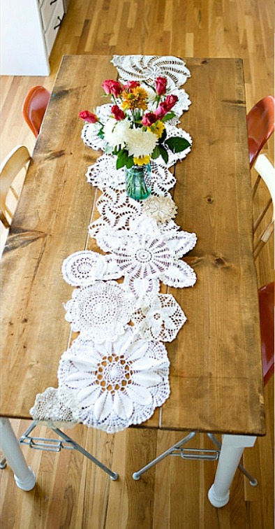 doily table runner from Under The Sycamore
