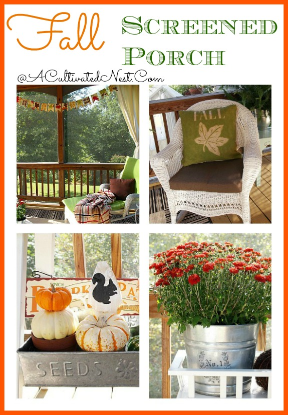 Fall screened porch decorating