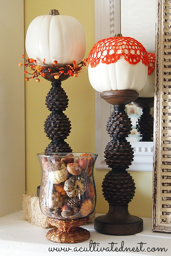 Fall Mantel Decor - 2013 Fall Mantel - pinecone candle sticks with pumpkins