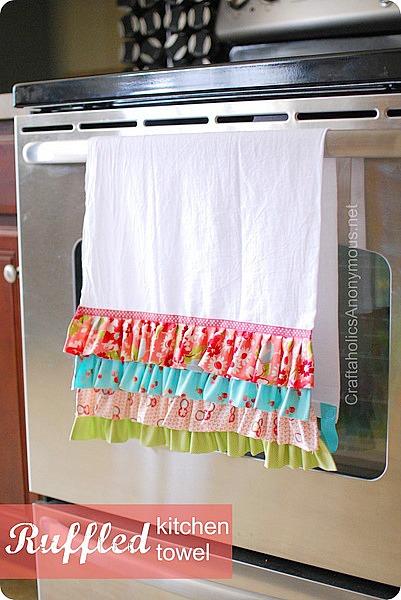 DIY ruffled tea towel