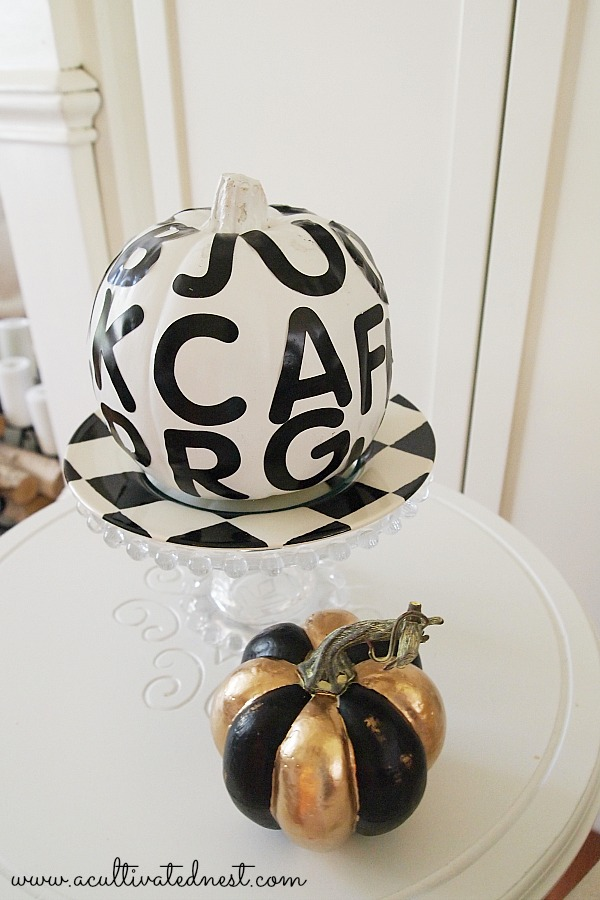typography pumpkin and black and gold pumpkin