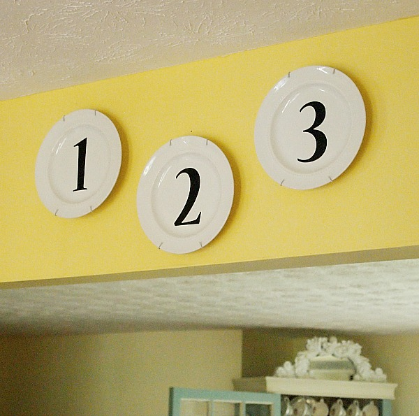 white plates with black numbers from Michael's