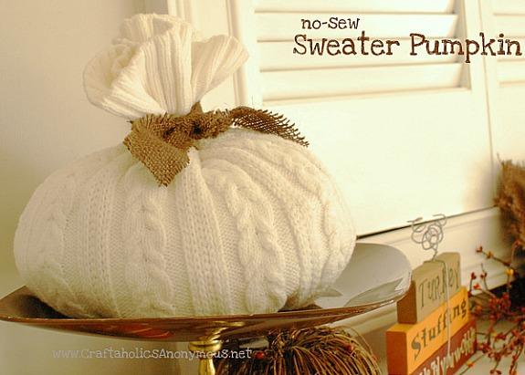 DIY white sweater pumpkin tutorial - no sew