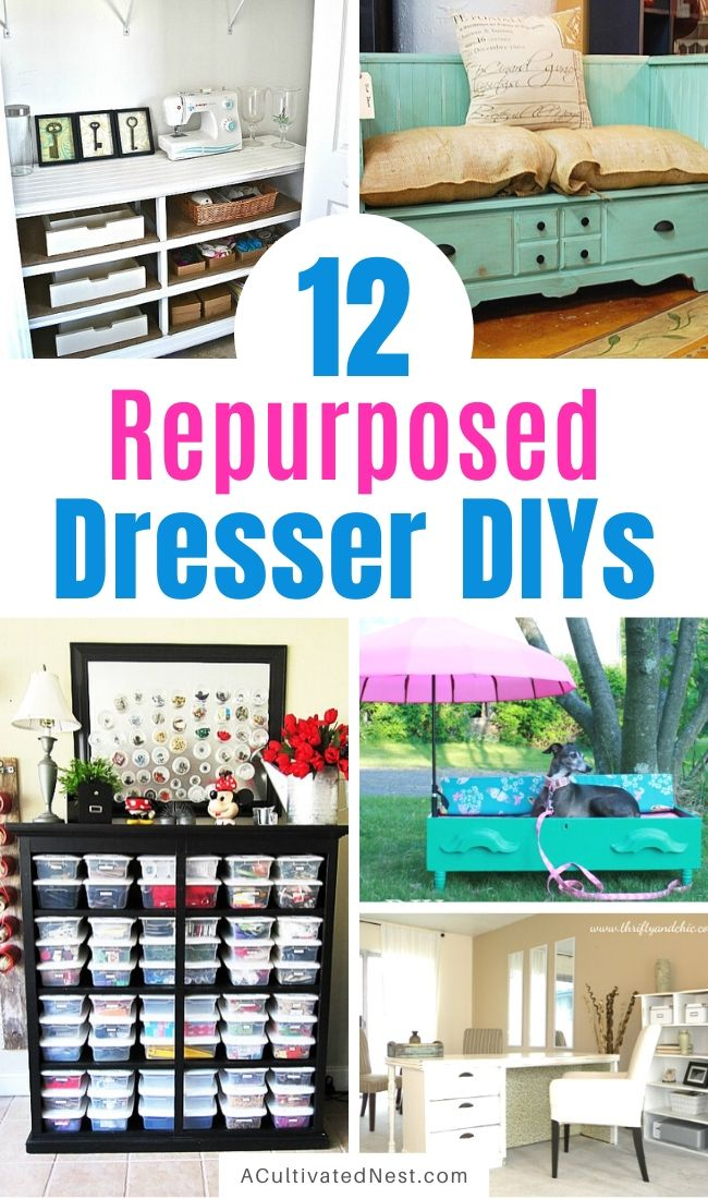 12 Clever Ways to Repurpose a Dresser- If you have an old dresser, don't throw it out! Instead, upcycle it with one of these beautiful and clever ways to repurpose a dresser! | #DIYProject #upcycle #repurpose #furnitureDIY #ACultivatedNest