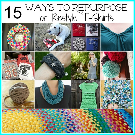 Are you looking for ways to use those t-shirts that you've been holding on to but can't wear anymore? Here's how to repurpose old t-shirts. We are featuring 15 ways you can upcycle those old shirts!
