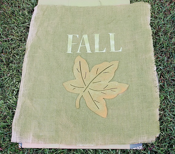 diy fall burlap leaf pillow