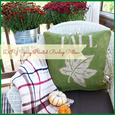 Super easy to make spray painted fall burlap pillow