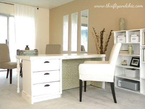 Dresser Desk- If you have an old dresser, it could be turned into something new, useful, and beautiful! For inspiration, check out these 12 clever ways to repurpose an old dresser! | DIY furniture makeover, upcycle a dresser, #repurpose #upcycle #furniture #DIYProject #ACultivatedNest