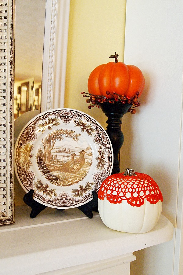 brown transferware and pumpkins